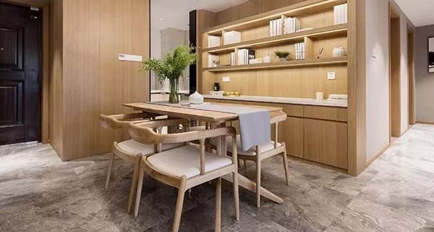 106平的新中式风三居室,用原木色与暖灰色构造的家