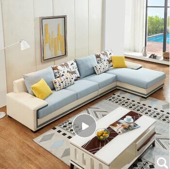 烏魯木齊全友(QUANU)沙發現代簡約客廳小戶型皮布藝沙發整裝皮布沙發組合 正向布皮沙發(1+3+轉)