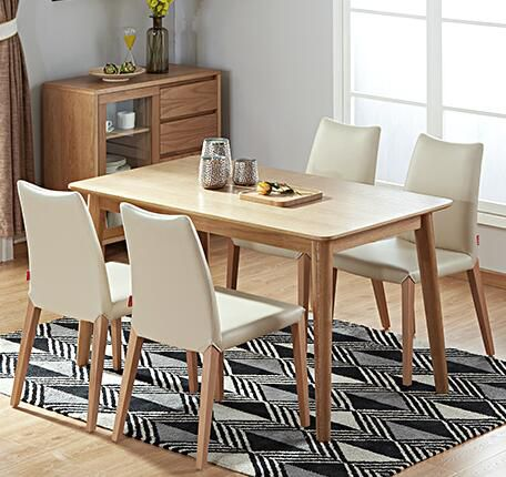 烏魯木齊顧家家居(KUKA) 顧家家居 北歐實木餐桌餐椅餐廳組合家具PT1767 30天發貨 一桌六椅