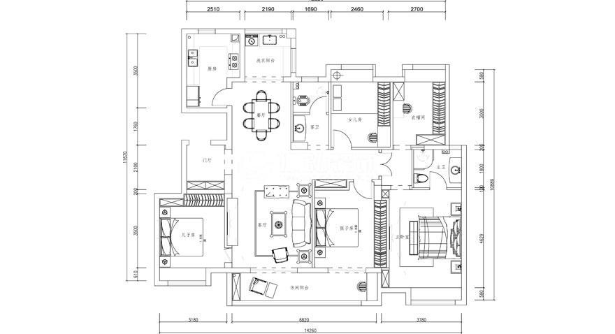 樊城绿地160平米简欧风格花园洋房