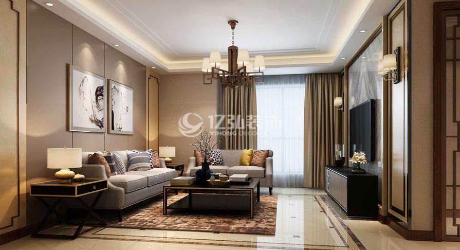 状元府119㎡三室两厅新中式风格装修效果图