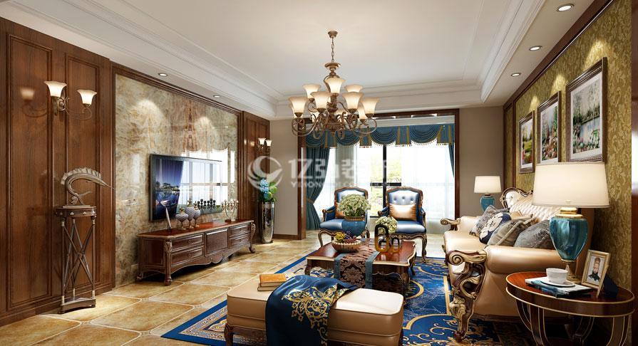 汉江明珠城230平米美式风格复式楼装修效果图