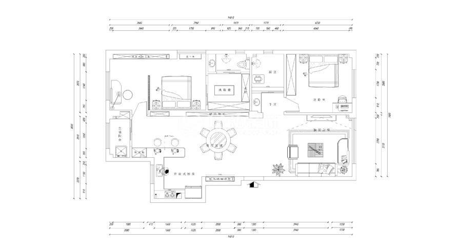 檀溪公馆136平米三室两厅新中式风格装修效果图