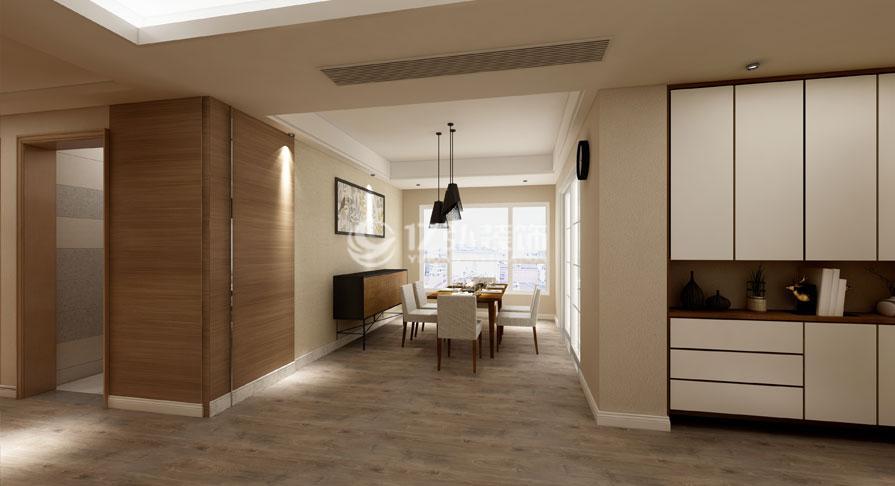 绿地中央广场138㎡四室两厅现代原木风装修效果图