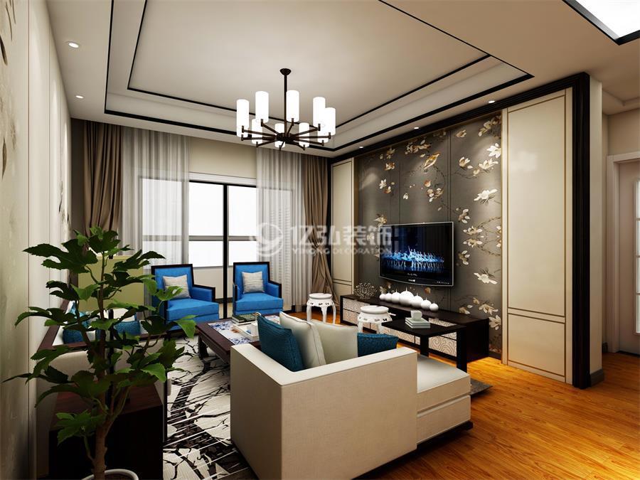 襄阳融侨城130平米三室两厅新中式风格装修案例,用现代审美打造传统韵味