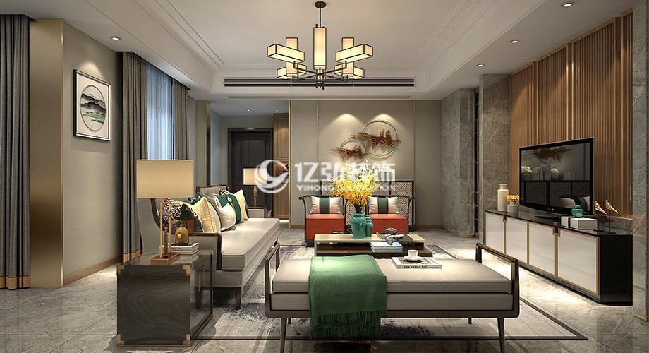 襄阳东津世纪城200平米新中式风格复式楼装修,优雅而极富韵味!