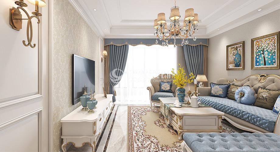 襄阳山河万里120平米三室两厅欧式风格装修案例,清新浪漫,高雅别致!