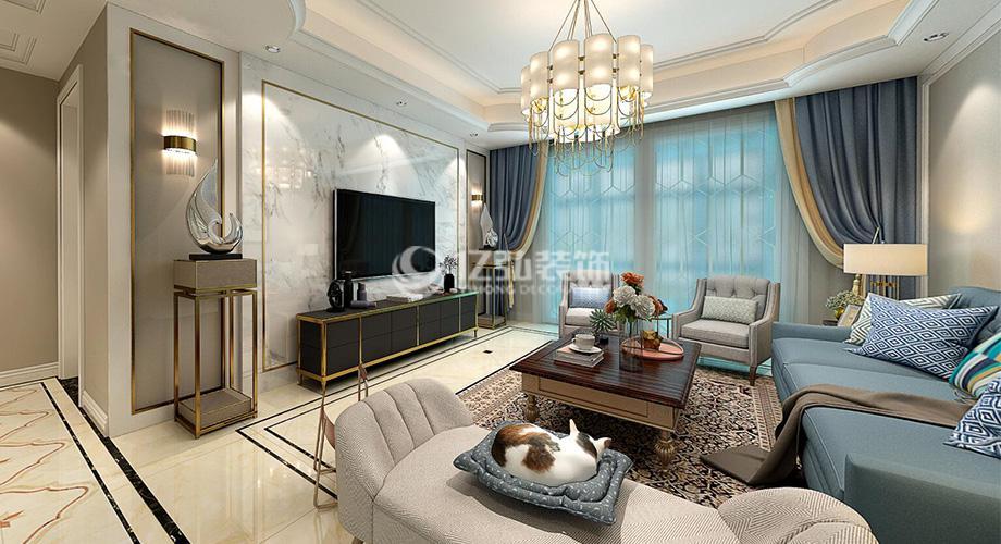 襄阳国色天襄137平米三室两厅简美风格装修案例,静享时尚优雅小资生活!