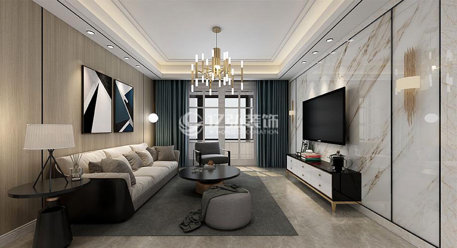 绿地二期122平米现代轻奢风格装修案例,开启质感时尚生活!