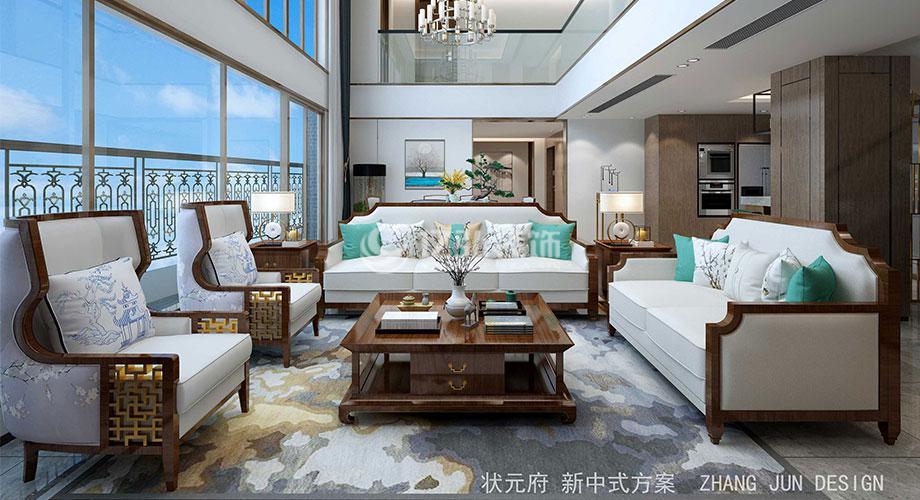 中建状元府396平米新中式风格复式楼装修,开敞大气,赏心悦目!