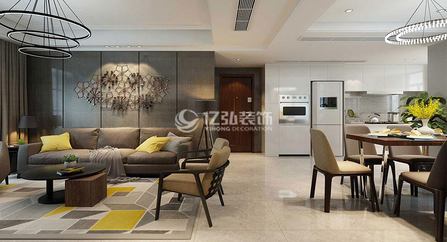 襄阳东津世纪城130平米三室两厅现代风格装修案例,时尚清新的家居空间!