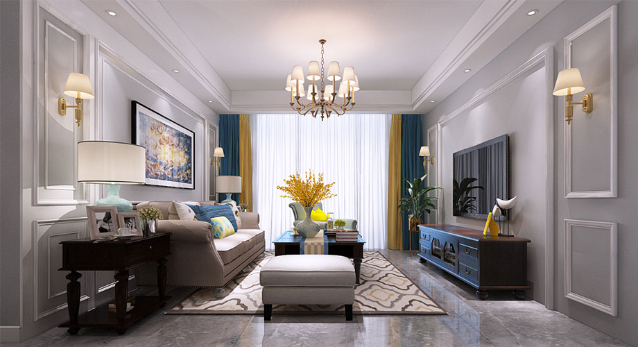 绿地125平米现代美式风格三居室,时尚利落,优雅浪漫!