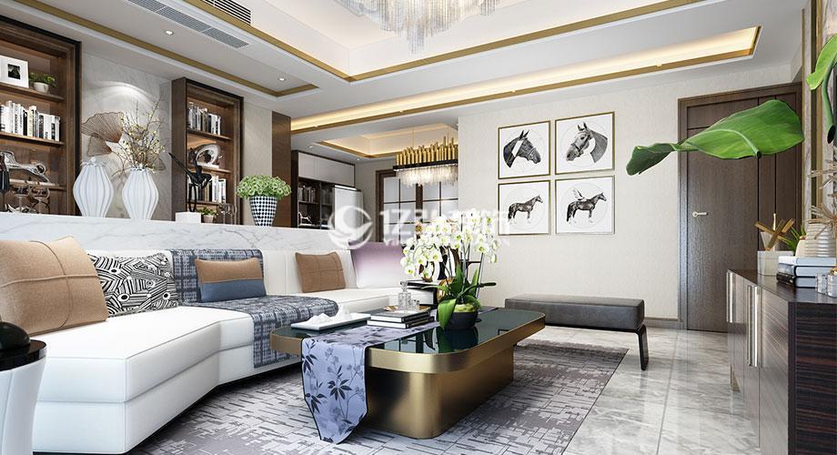 君临山130平米港式风格装修案例,时尚轻奢,优雅精致!