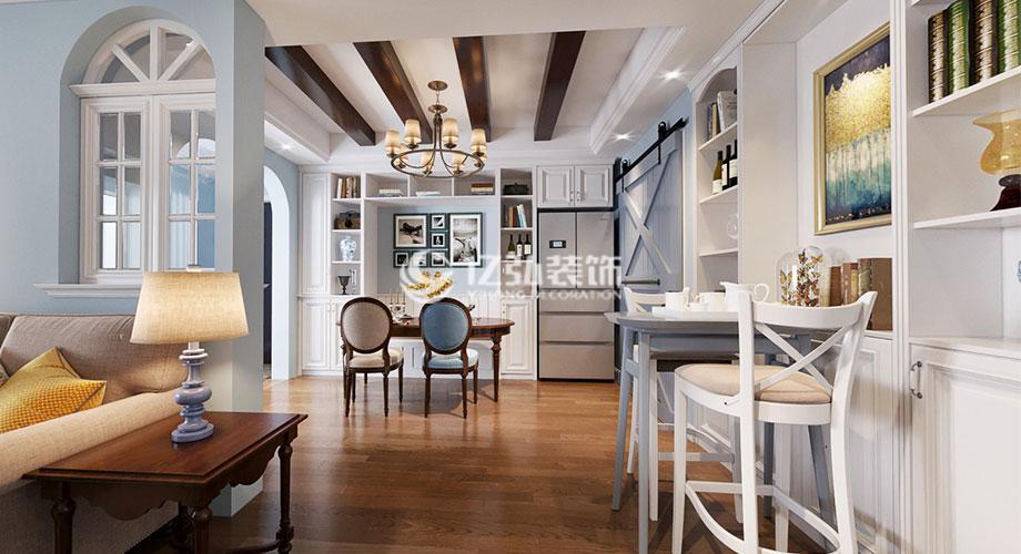 襄阳航宇幸福家园130平米美式风格装修案例,时尚温馨,清新舒适!