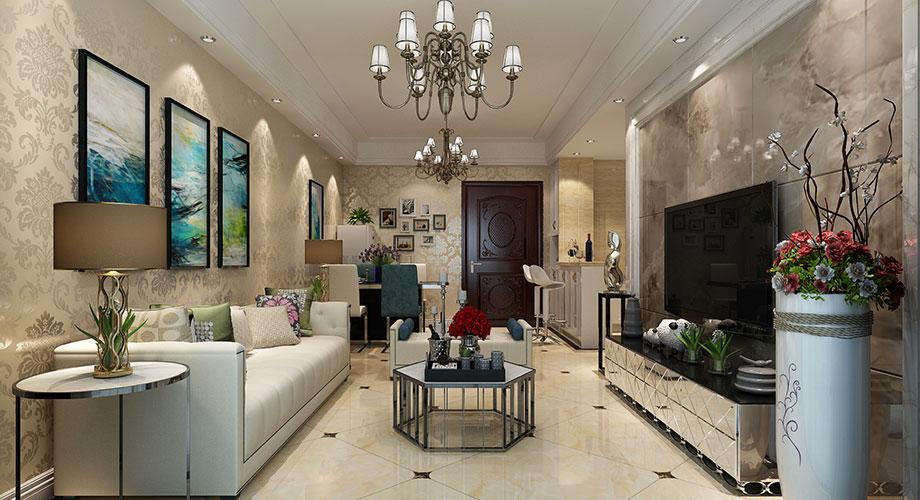 襄阳绿地88平米两室两厅简欧风格装修案例