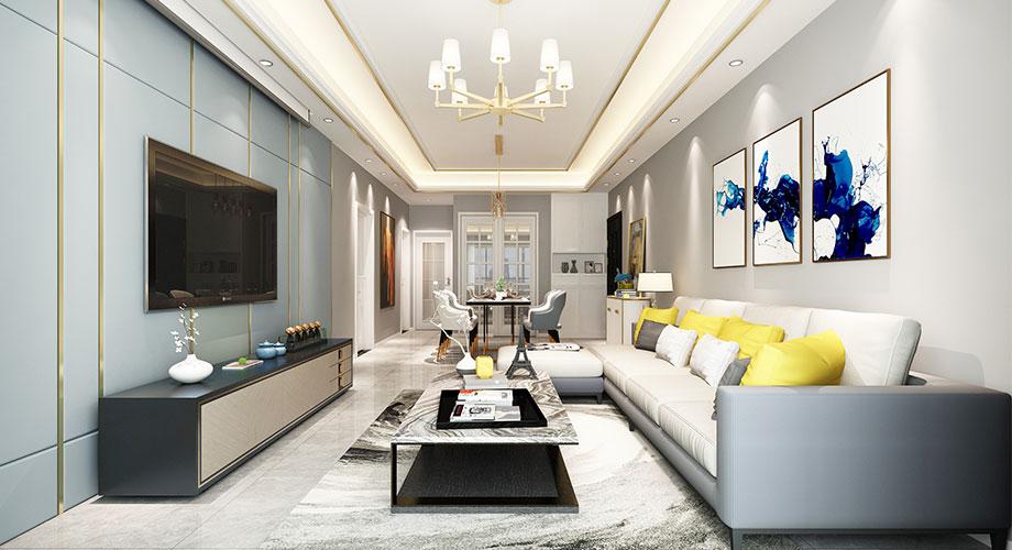 襄阳汉水华城128平米现代风格装修案例,轻奢范儿十足!
