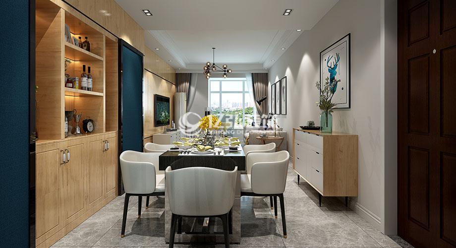 襄阳汉水华城104平米三室两厅北欧风格装修案例,干净温馨的精致小三居!
