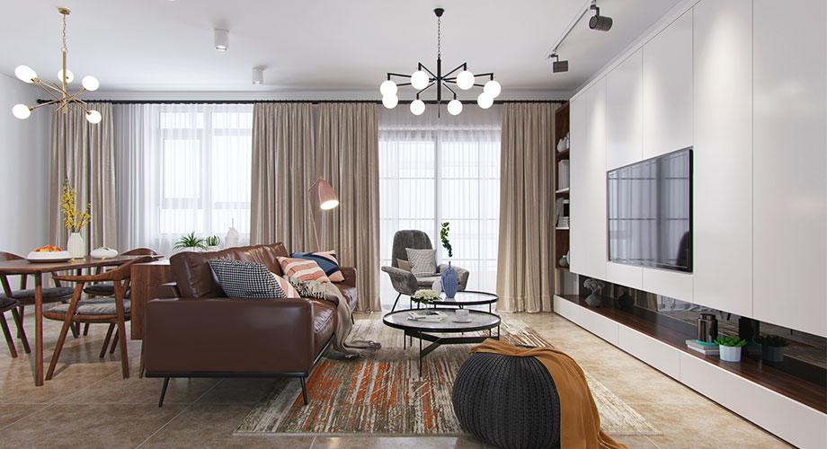 襄阳东津世纪城120平米北欧风格装修案例,轻松随意,明亮且具有质感!