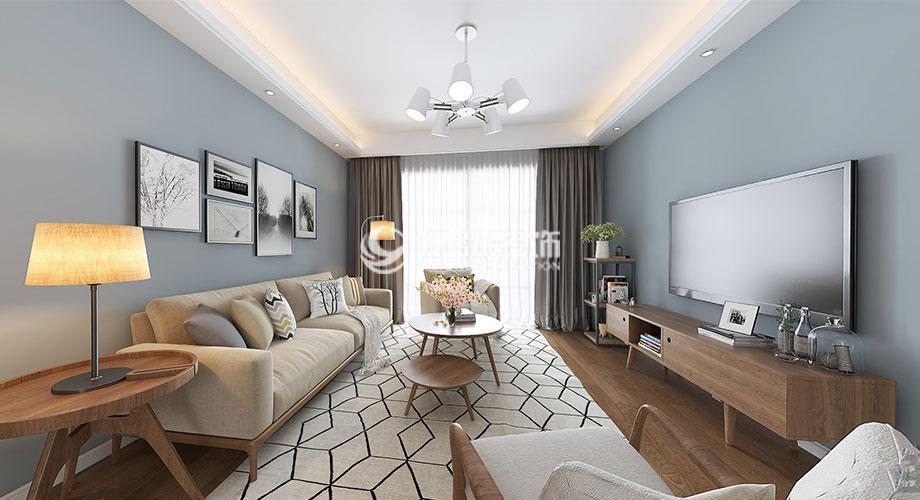 襄阳绿地123平米三室两厅现代简约风格装修案例,时尚灵活,简约舒适!