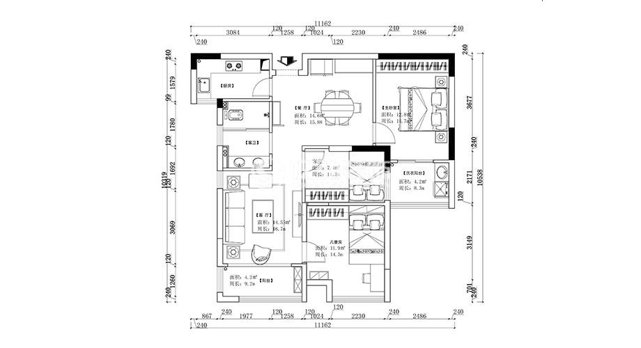 汉水华城113平米现代风格装修案例,简约大气的都市家装!