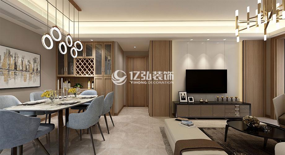汉水华城125平米简约中式风格装修案例,庄重与优雅并存!
