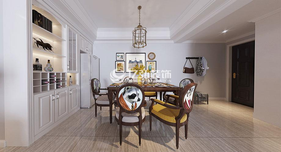 国色天襄115平米美式风格装修案例,打造时尚浪漫的精致家居!