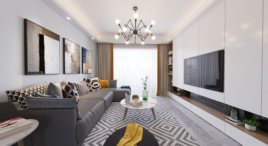融侨锦江113平米现代风格装修案例,简约优雅的质感空间!