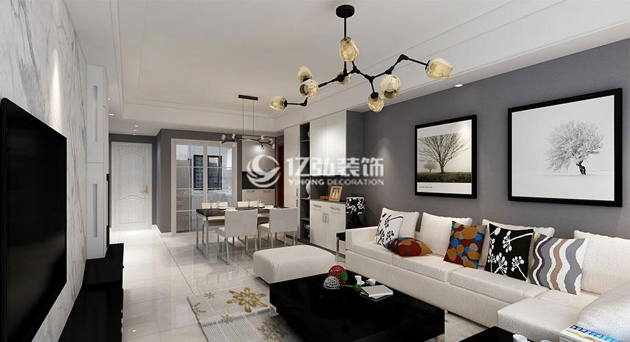 汉水华城125平米现代风格装修案例,灰色调打造时尚家居!