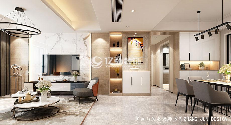富春山居131平米现代风格装修,简约而又不失时尚的艺术格调!