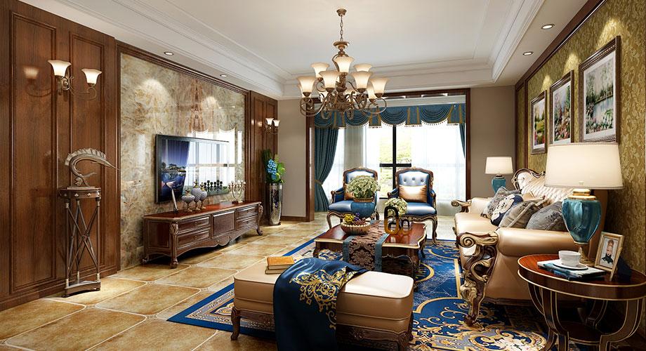 襄阳汉江明珠城230平米美式风格装修,华丽高雅!