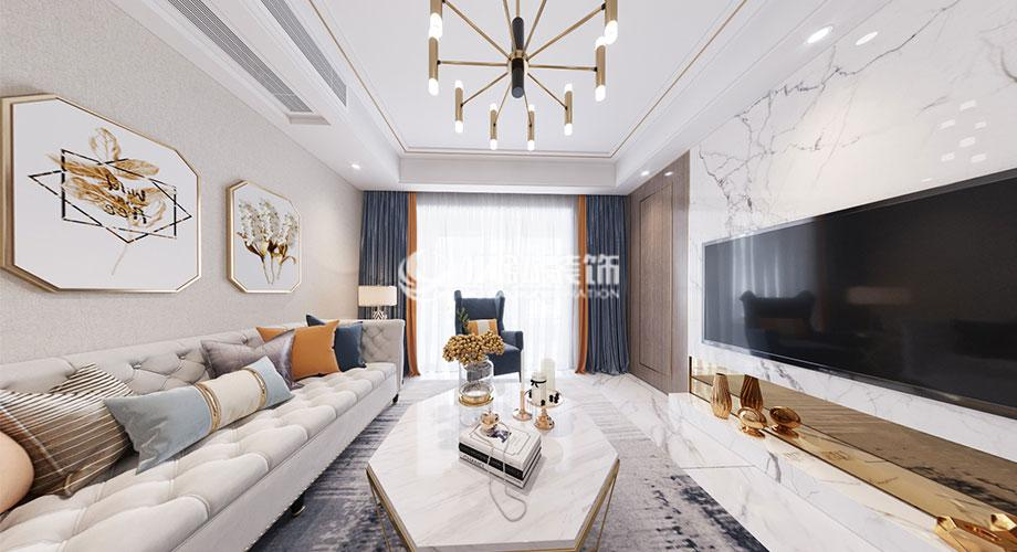 普鑫上东郡101平米现代轻奢风格装修案例,舒适自由的家居空间!