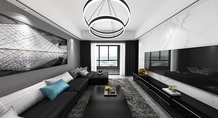 融侨锦江117平米现代风格装修,黑白灰搭配,时尚感十足!