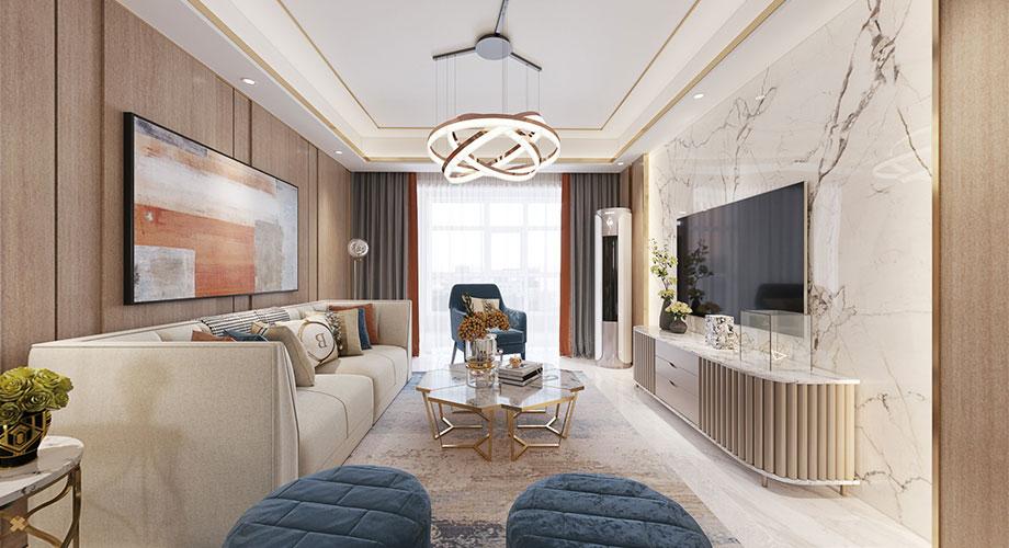 汉水华城138平米现代轻奢风格装修,精致高端,时尚雅致!