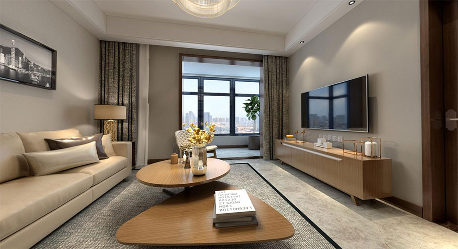 汉水华城125平现代风格装修,简洁优雅两居室!