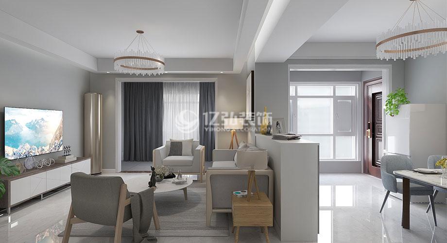 航宇幸福家园117平米现代简约风格装修,简洁时尚宽敞明亮!