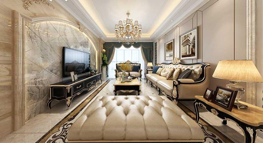 襄阳汉水华城130平米欧式风格装修案例,奢华大气有档次!