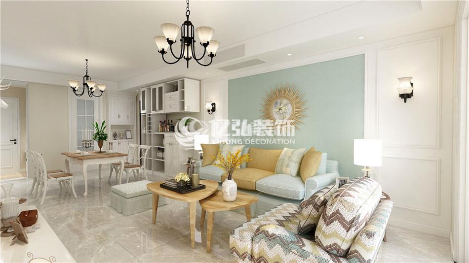 汉水华城125平米简约美式风格装修,干练舒适,质朴温馨!