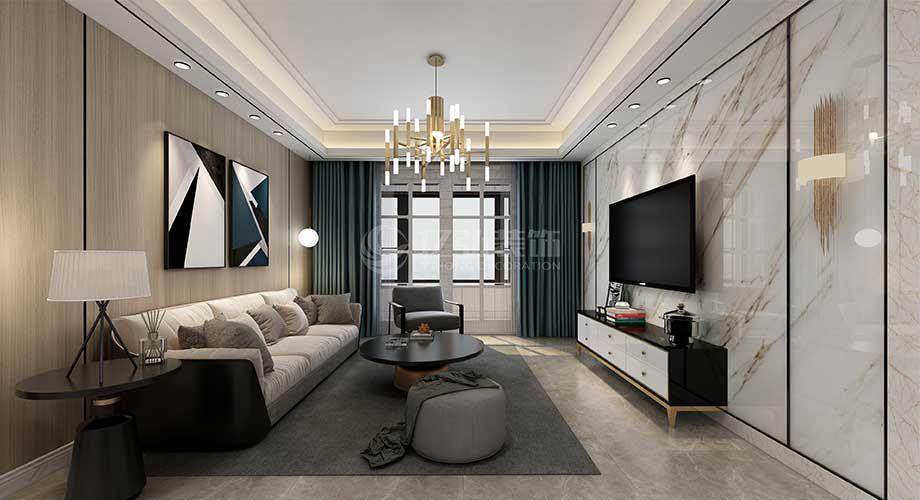 绿地二期122平米现代轻奢风格装修案例,简约时尚,精致优雅!