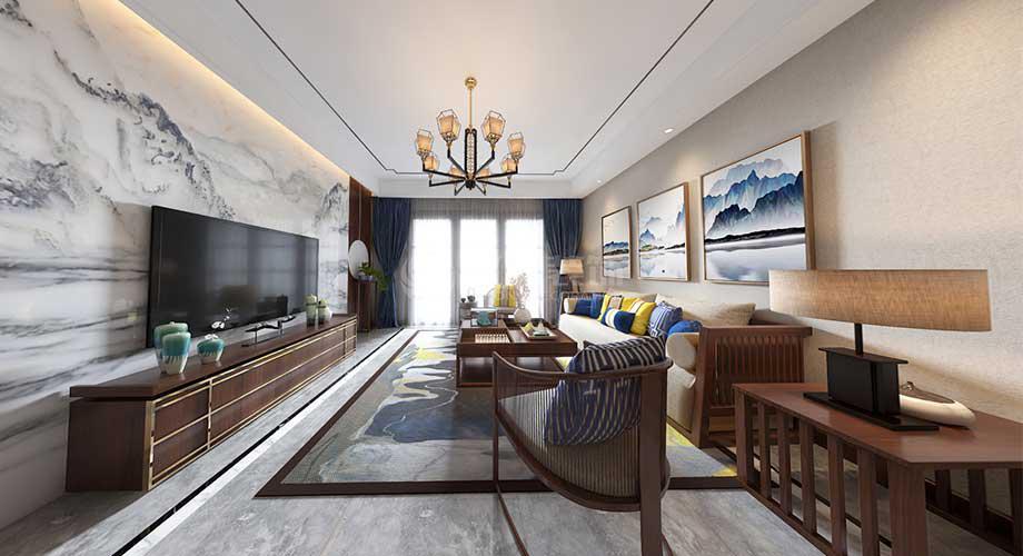 襄阳装修案例万达小区150平米新中式风格装修,雅致古朴,经典高贵!