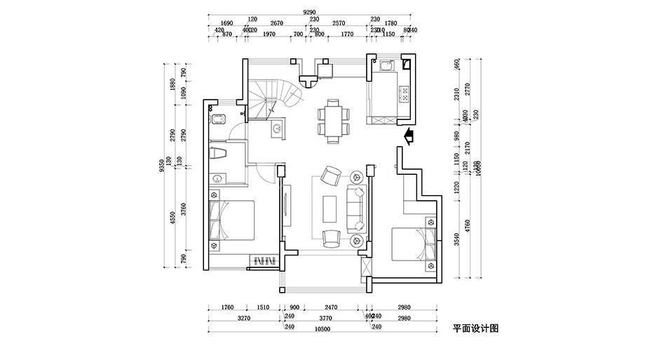 襄阳装修案例 山河万里140平米新中式风格复式楼装修