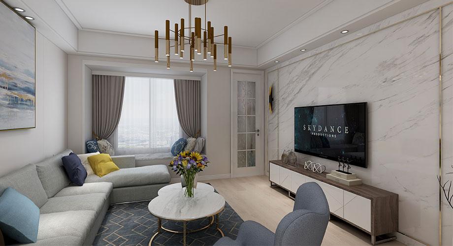 襄阳襄轴家园130平米现代简约风格装修效果图!