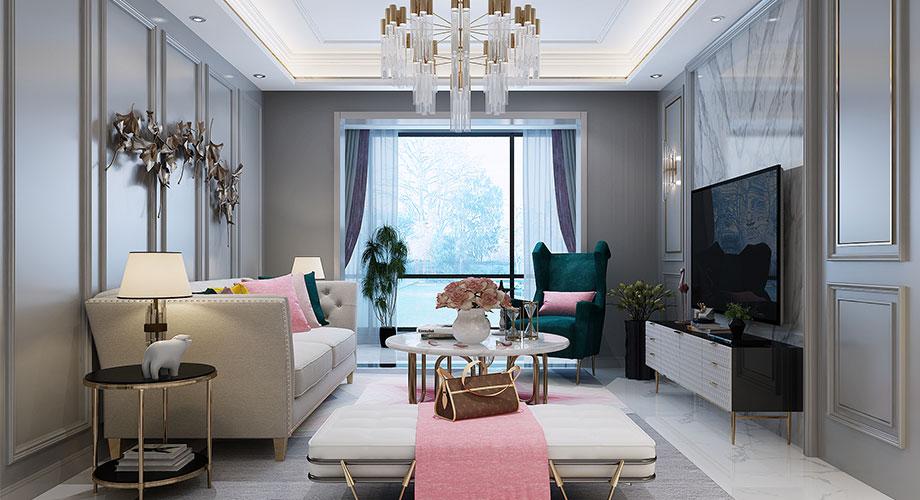 襄阳融侨锦江122平米三室两厅美式轻奢风格装修效果图!