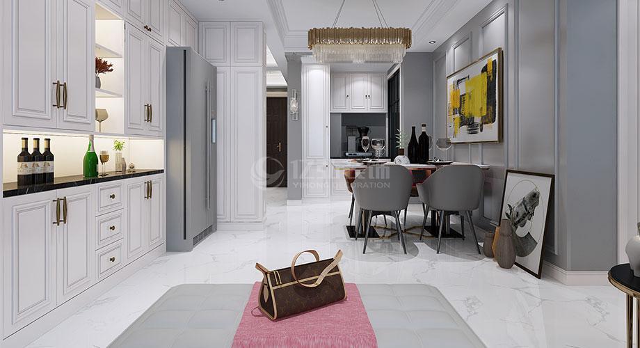 襄阳装修案例襄阳融侨锦江122平米三室两厅美式轻奢风格装修效果图!