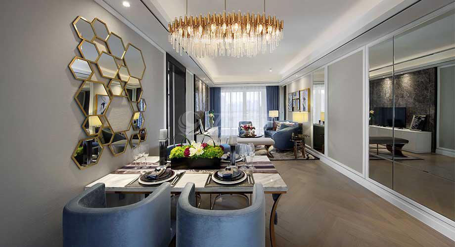 襄阳航宇幸福家园95平米三室两厅现代轻奢风格装修!