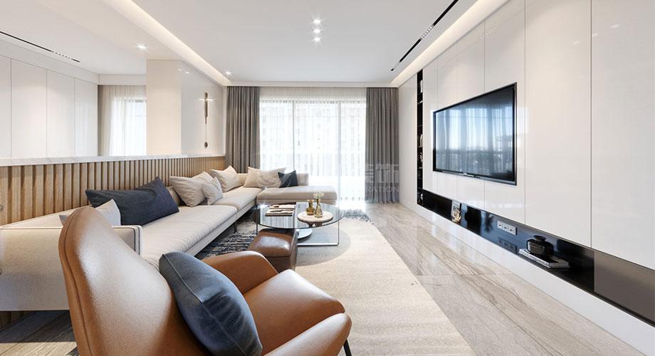 绿地四期160平米现代风格洋房装修效果图!