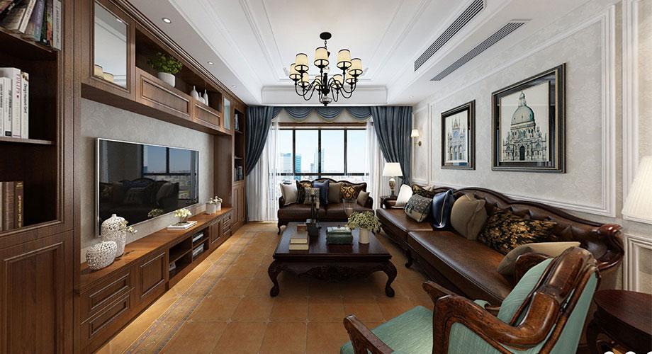 襄阳世纪荣华136平米美式风格三室两厅装修效果图!