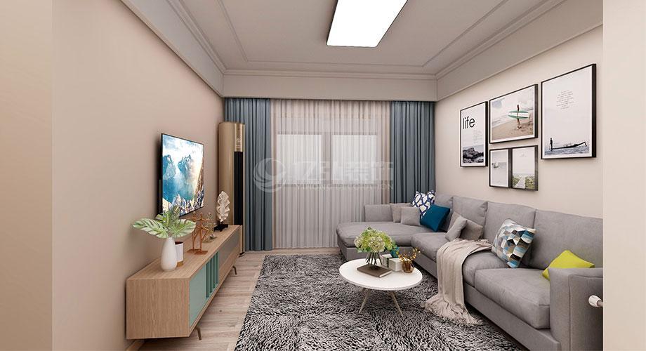 东津世纪城88平米现代风格两居室装修效果图!