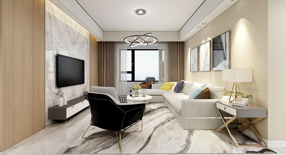 襄阳汉水华城御苑130平米现代简约风格装修效果图!