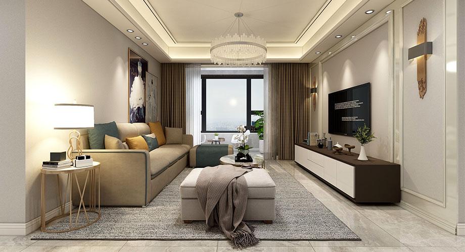 襄阳汉水华城御苑130平米现代轻奢风格装修效果图!