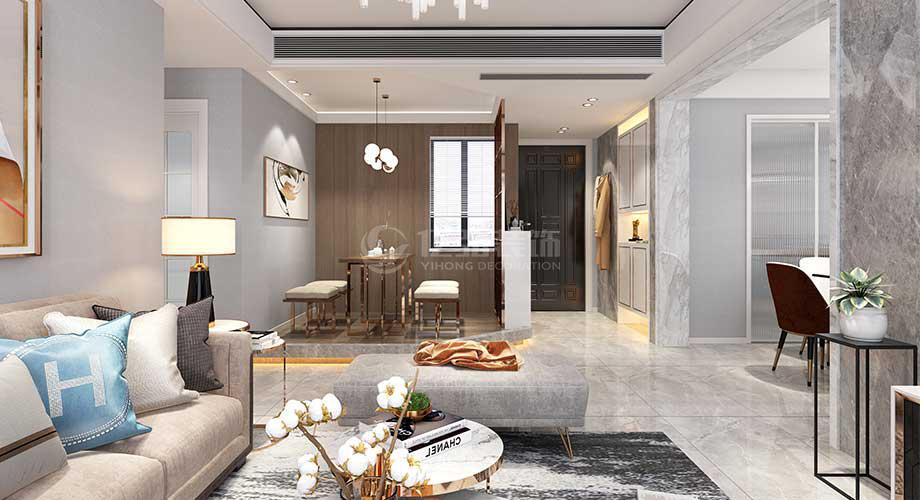 襄阳汉水华城御苑134平米现代轻奢风格装修效果图!
